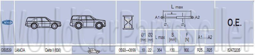 Tailgate Trunk DAMPER SHOCK x2 STRUT PROP Pair Fits HYUNDAI ix55 2008